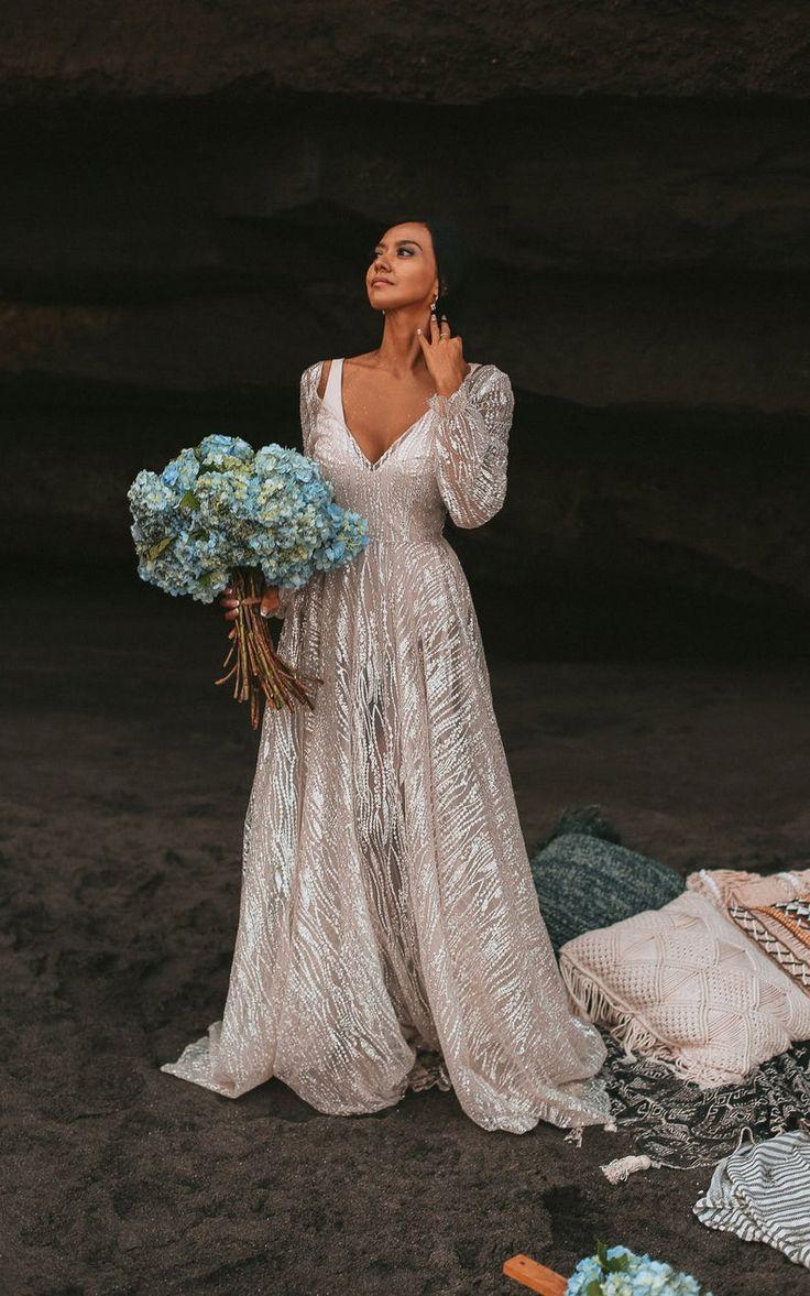 Galaxy by boom blush sparkly ivory wedding dress unique