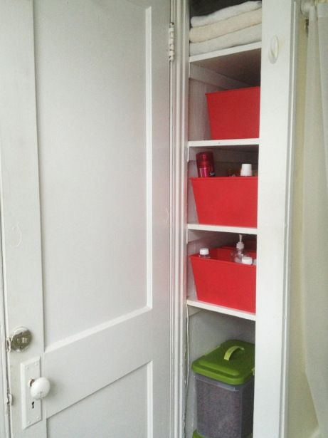 an system for deep and narrow bathroom shelves from the dollar store