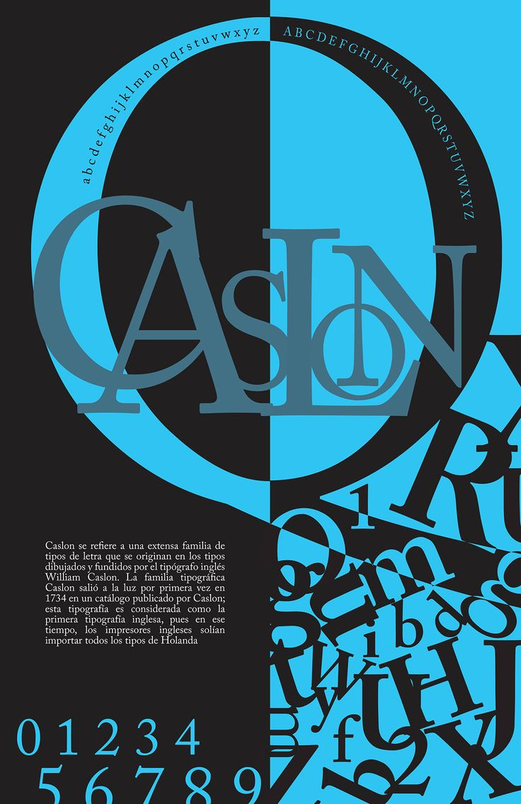 Caslon Typography Poster on Behance how the letters are stacked on the blue side, it looks really nice, not messy at all.