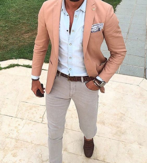 Roupa de Homem para Trabalhar. Macho Moda - Blog de Moda Masculina: Roupa de Homem para Trabalhar no Verão 2018, dicas para Inspirar! Moda para Homens, Como se vestir para Trabalhar Homem, Roupa de Escritório Masculina, Blazer Rosa pastel, Lenço de Bolso