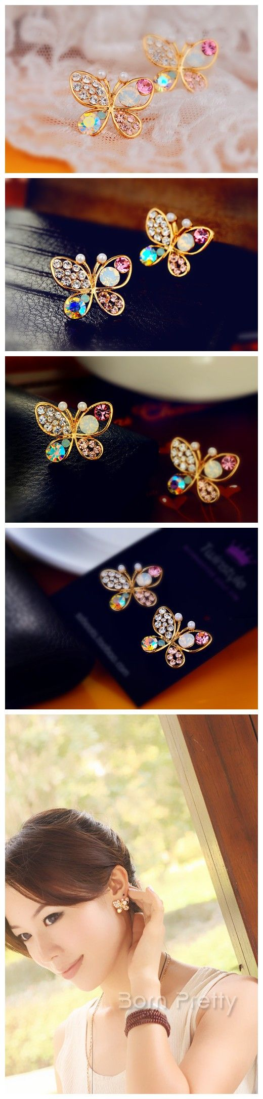 $2.78 Earring Ear Stud Fashion Dazzling Coloful Rhinestone Pearl Hollow Butterfly Design - BornPrettyStore.com