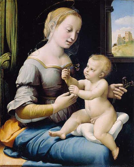 분홍빛 마리아/패랭이 꽃을 든 성모 마리아 - 라파엘로  1506-1507. 런던 국립미술관.  이 작품은 아기 예수를 안고 있는 젊은 엄마인 성모 마리아를 그린 그림입니다. 마리아와 아기 예수가 들고 있는 패랭이꽃은 결혼의 상징이라고 합니다. 29x23cm의 소형 작품입니다. 아기 예수를 바라보는 마리아의 눈에서 애정을 느낄 수 있습니다.