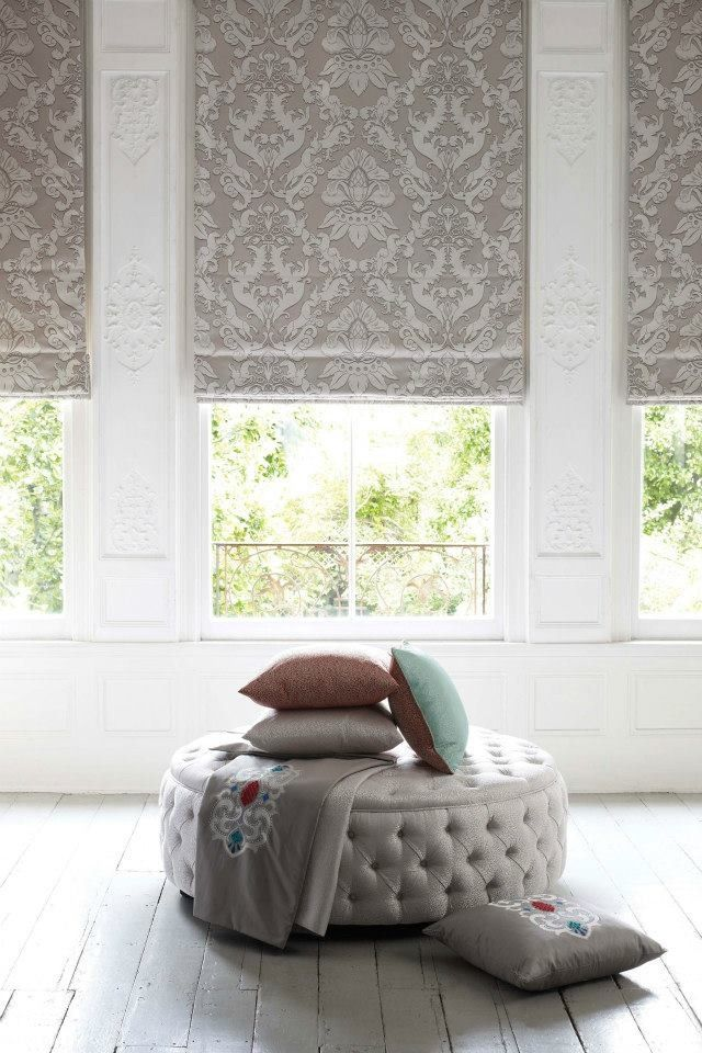Bay Window- I love the pattern and color of this #romanshade or is it a #rollershade ?