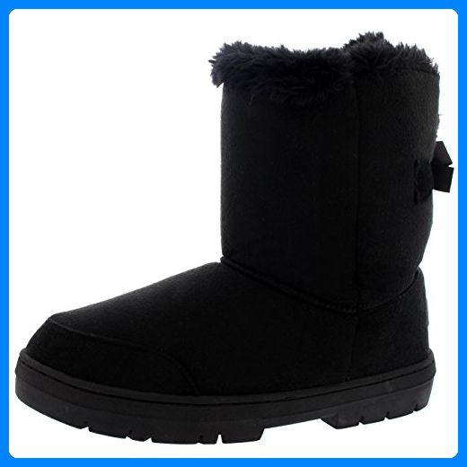 Damen Schuhe Single Schleife Fell Schnee Regen Stiefel Winter Fur Boots - Schwarz - 38 - AEA0238 - Stiefel für frauen (*Partner-Link)