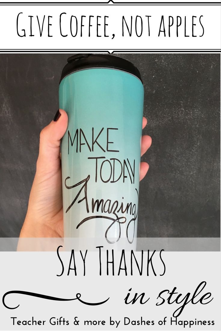 Think outside the box with your gift giving. The perfect gift to say thanks to your child's teacher is NOT an apple! Chose from a selection of hand lettered, colorful, motivational and beautiful coffee mugs. Slip in a starbucks gift card- and you've officially won the award for best parent ever. Click through to shop!