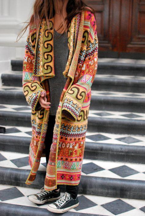 "Coachella Fashion Style Inspiration multi-colored embroidered pattern on this floor-length ""Russian Princess / Babushka kaftan coat - caftan   gown robe  colorful ethnic aztec stitching patterns - Karina Porushkevich (fashion blogger) http://www.karinaporushkevich.com"