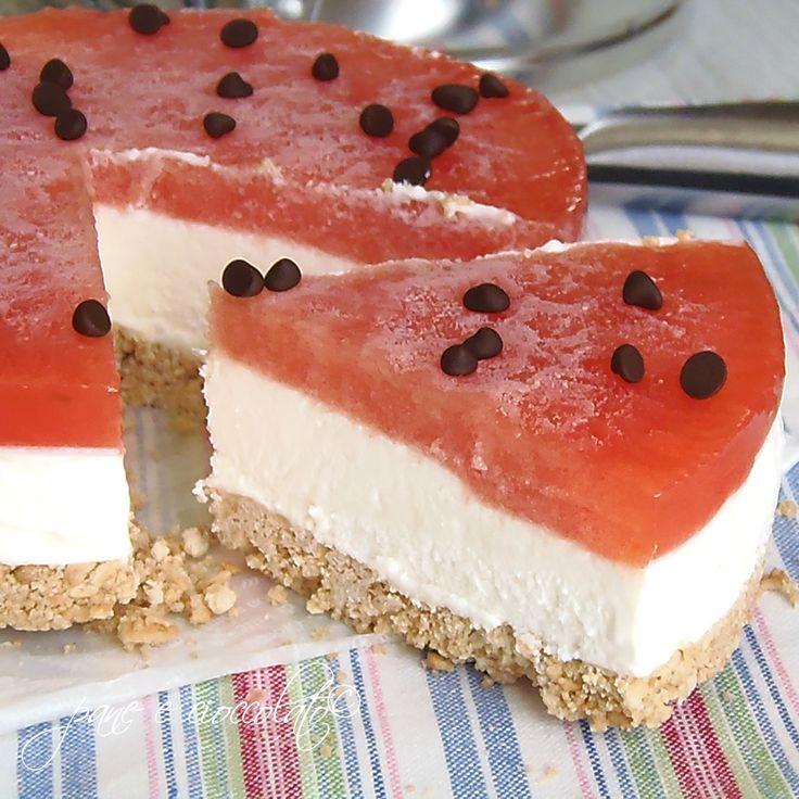 Torta fredda anguria e panna per Ferragosto