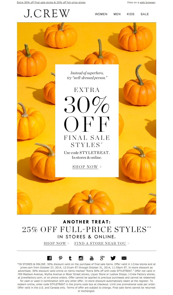 #newsletter J.Crew 10.2014 Pumpkins, people. Pumpkins. (And 30% off final sale styles.)