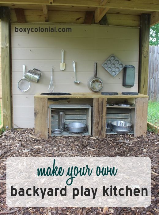 Step by step instructions for making this backyard play kitchen--almost entirely out of recycled and thrifted materials!