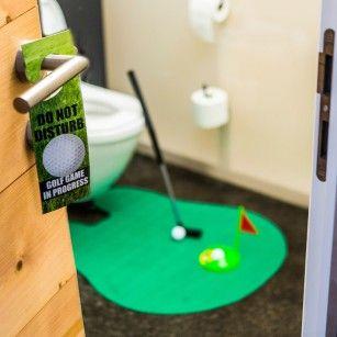 Grappige cadeaus - De ultieme golfset voor op het toilet - Jouw eigen greenfield voor op het toilet