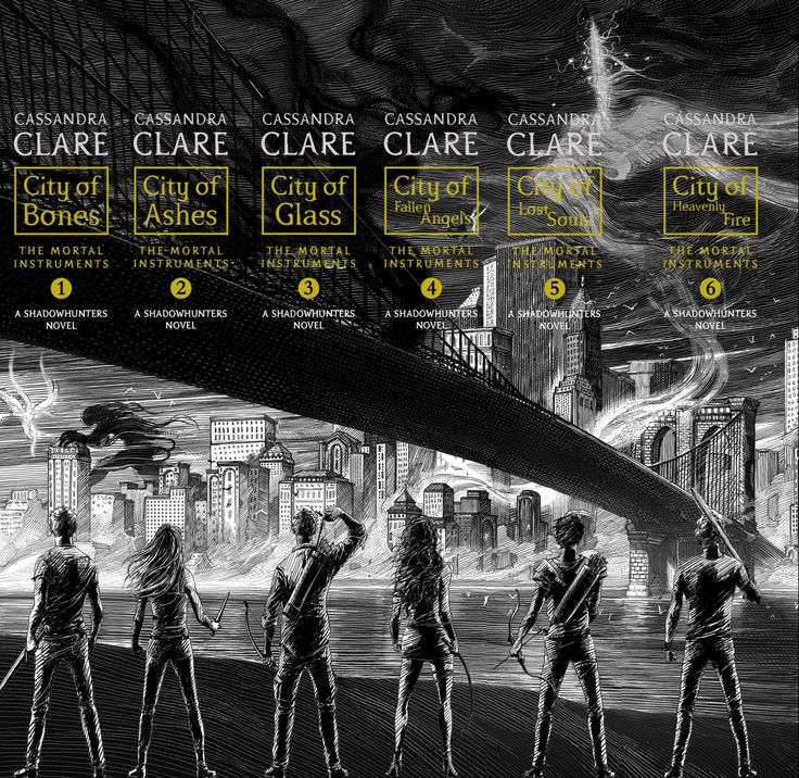 The spines of the repackaged Mortal Instruments, you can see how the spines will look all lined up, forming a single entire picture. #TMI #TheMortalInstruments #Shadowhunters