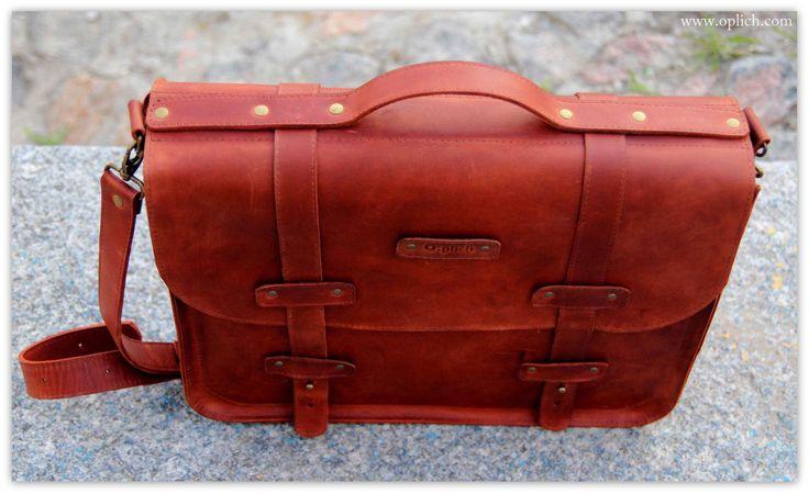 COGNAC BROWN Briefcase for Men - Work bag - Computer bag - Genuine full grain leather messenger bag by OplichLeatherGoods on Etsy