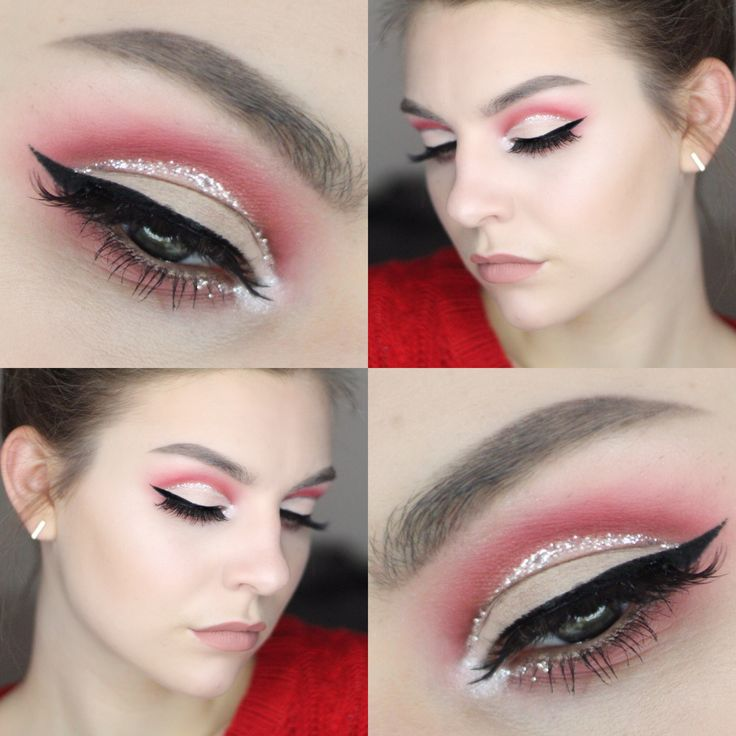 Dramatic FULL LID glitter cut crease for Valentine's Day tutorial | red cut crease, glitter eye makeup, valentine's day look, valentine's day makeup, makeup tutorial
