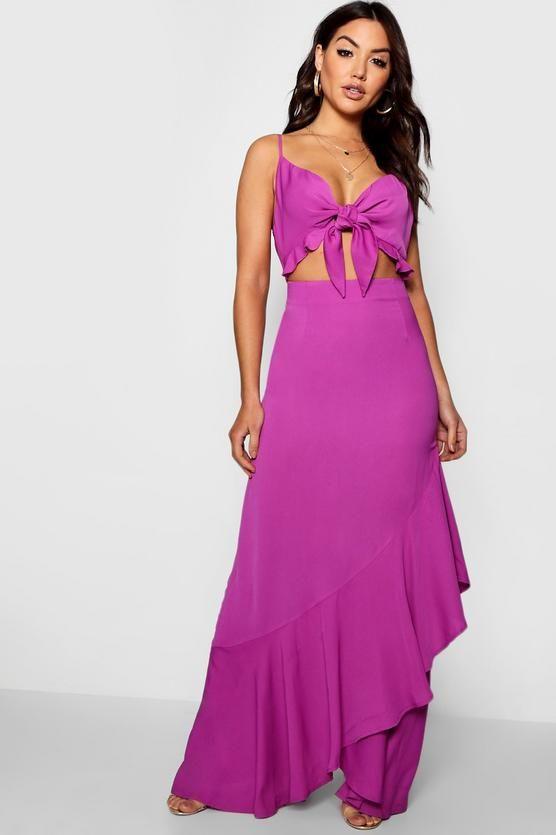 fd2bb51a7660 Knot Front Ruffle Hem Maxi Dress - boohoo maxi dress