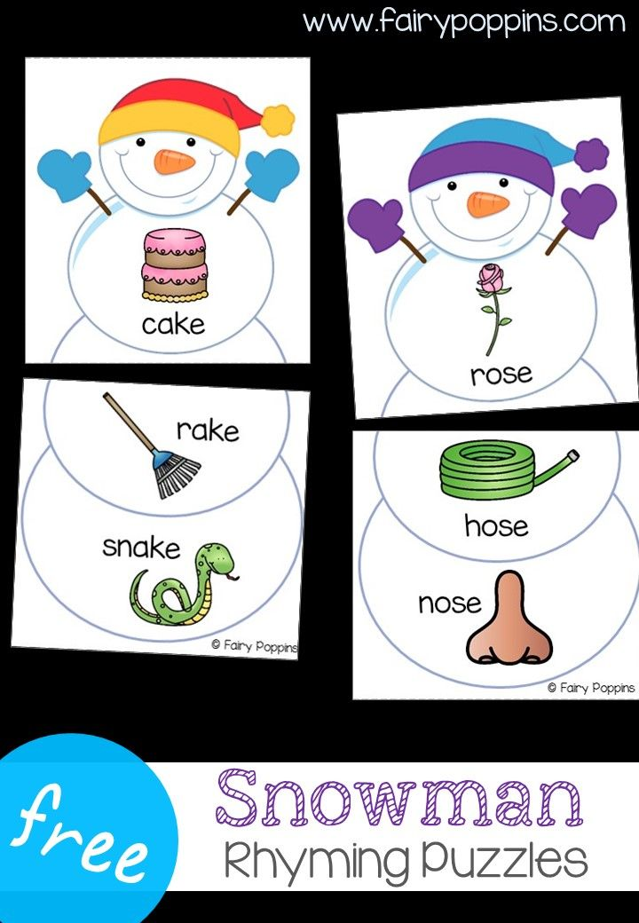 snowman rhyming puzzles winter activities. Black Bedroom Furniture Sets. Home Design Ideas