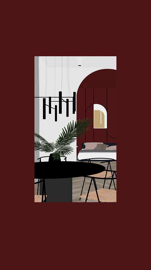 BURGUNDY APARTMENT on Behance Interior architecture