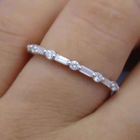 Full Cut Round and Baguette Diamond Gold Band