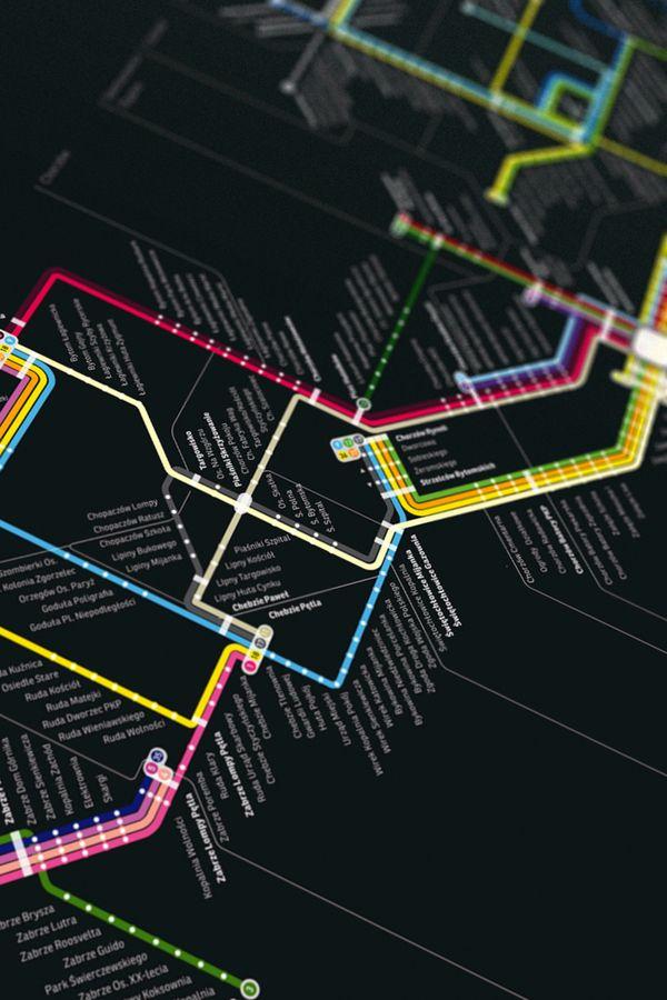 Silesia Tramway Map by Paulina Urbańska, via Behance