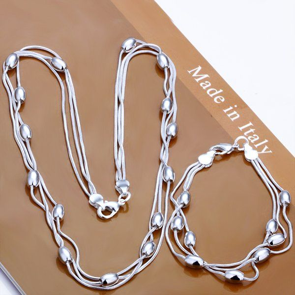 silver plated,coer 3 line lightbead Pendant coer necklace earring jewelry set for bridal jewelry set