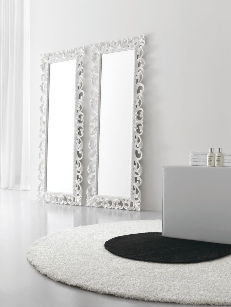 miroir pour salle de bain avec cadre baroque finition blanc mat dimensions 720x1860 by arcom. Black Bedroom Furniture Sets. Home Design Ideas