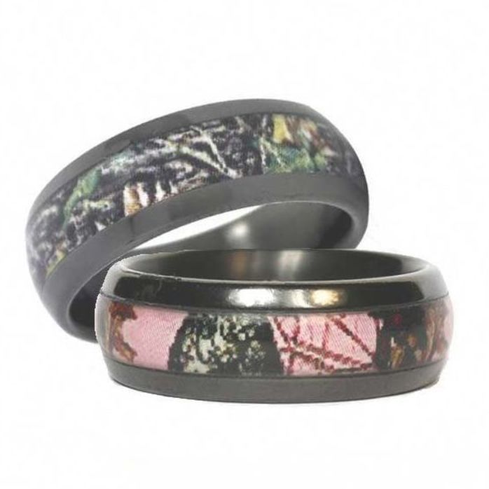Get A Set Of His And Hers Black Camo Wedding Bands For You Both In Various Camo Patterns Camo Wedding Rings Wedding Rings Sets His And Hers Wedding Ring Sets