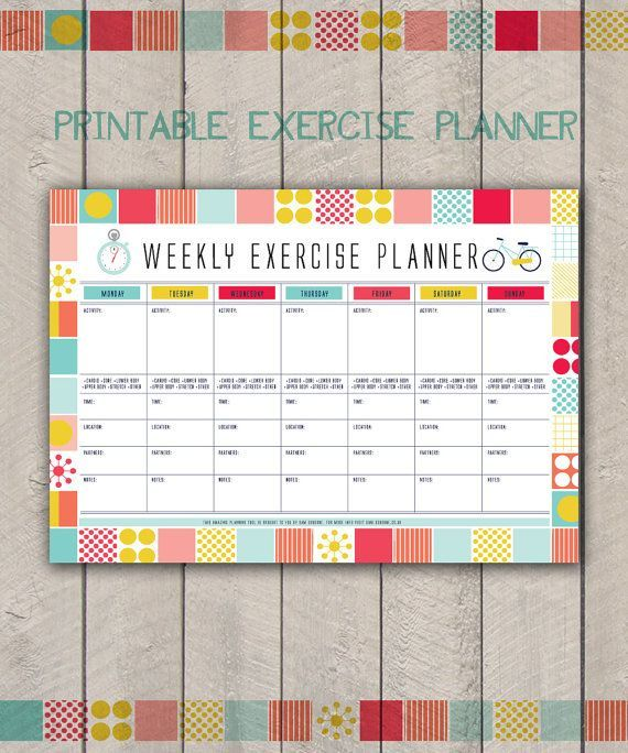 Etsy - Printable Fitness Organiser, Gym Diary, Weekly Exercise Planner, Printable Habit Tracker, Workout Tracker - INSTANT DOWLOAD  #ad#exerciseplanner