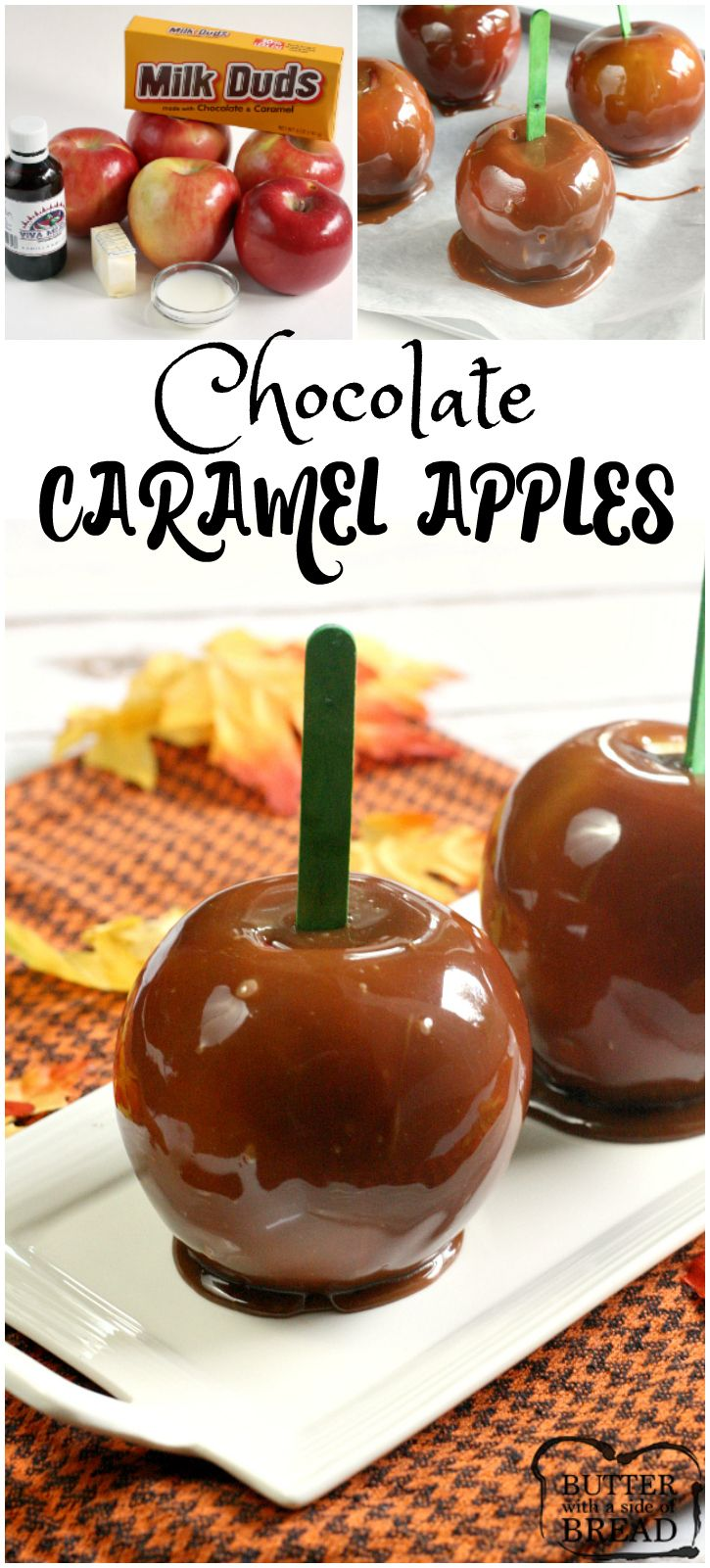 Chocolate Caramel Apples - why pick between caramel and chocolate when you can have both?! Butter With a Side of Bread