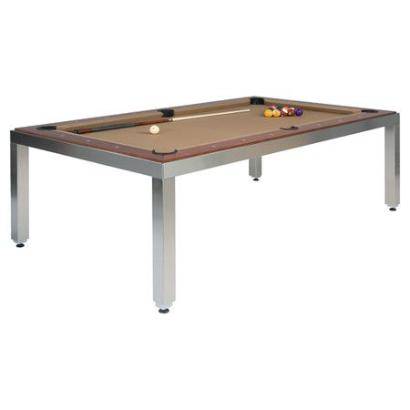 Found it at AllModern - Fusiontables 7' Pool Table in Stainless Steel & Brown.  Has a sweet wooden top so it doubles as dining table and game table