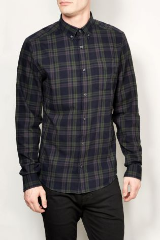 Buy Black/Khaki Check Long Sleeve Shirt from the Next UK online shop
