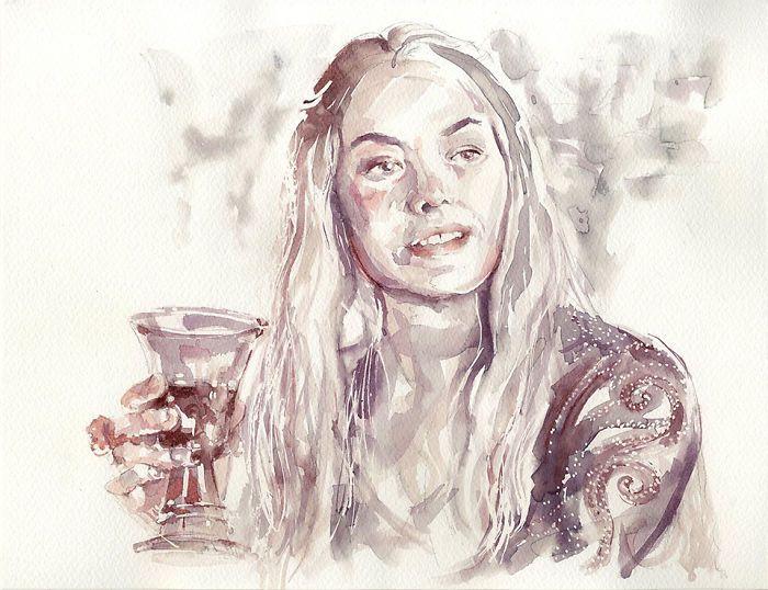 Jana Jankovic schildert met wijn, past oud Renaissance kunst toe van aging schilderen. Wijn als vervanging waterverf.