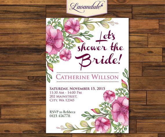 Bridal Shower Purple Flower W/ Free Thank You Card by Lavandule