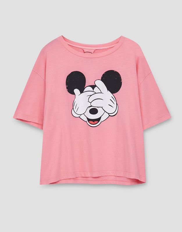 Mickey Mouse cropped T-shirt - T-shirts - Clothing - Woman - PULL&BEAR Israel