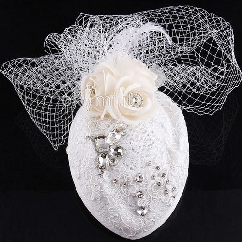 Accessore per Capello Cappello Matrimonio Piuma Pizzo