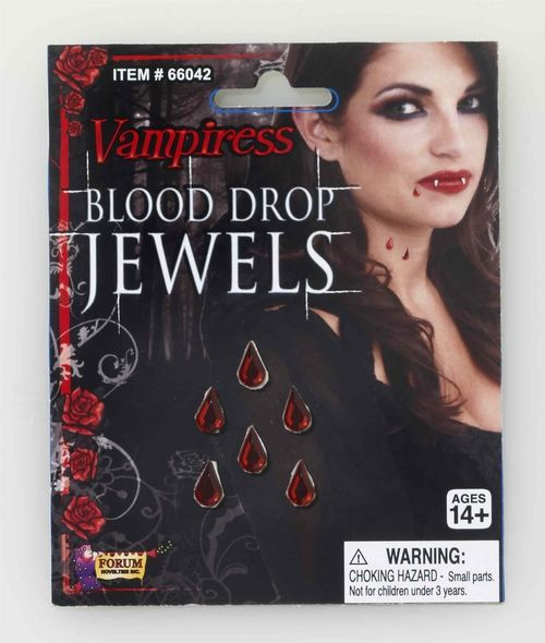 Vampire Blood Drop Jewels - Use these blood drop jewels for your majestic Vampire or vampress costume. These jewels have a blood red colour and adhesive backing for peel and stick pleasure. They are perfect for someone who doesn't want to use messy blood however accent their vampire costume or maybe a pretty fairy accent piece. #yyc #costume #jewelry
