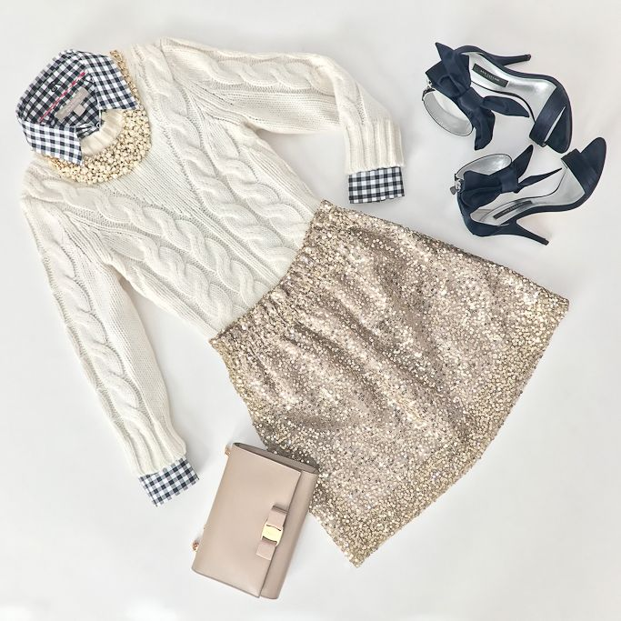 Cable knit sweater, Ferragamo miss vara, gingham shirt, gold sequin bell skirt, navy bow heels, holiday outfit, new years eve, preppy outfit, click the photo for outfit details!