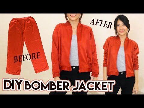 DIY Turn Old Pants Into Bomber Jacket | Satin Raglan Jacket | Clothes Transformation - YouTube