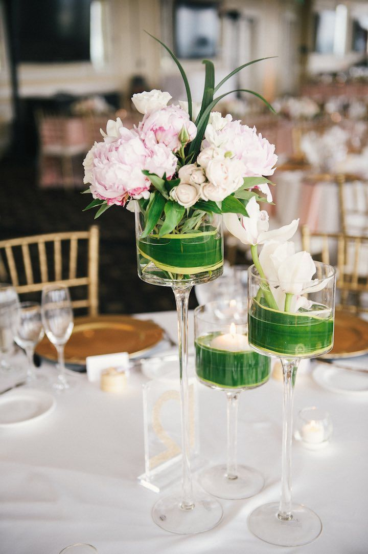 photographer: Still55 Photography; Pink ballroom wedding reception idea