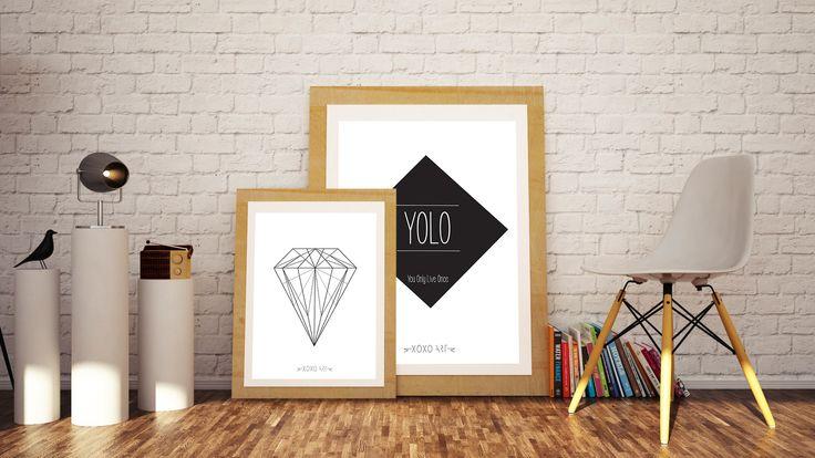 Diamond and YOLO from www.xoxoart.dk - online webshop in Denmark xoxoart