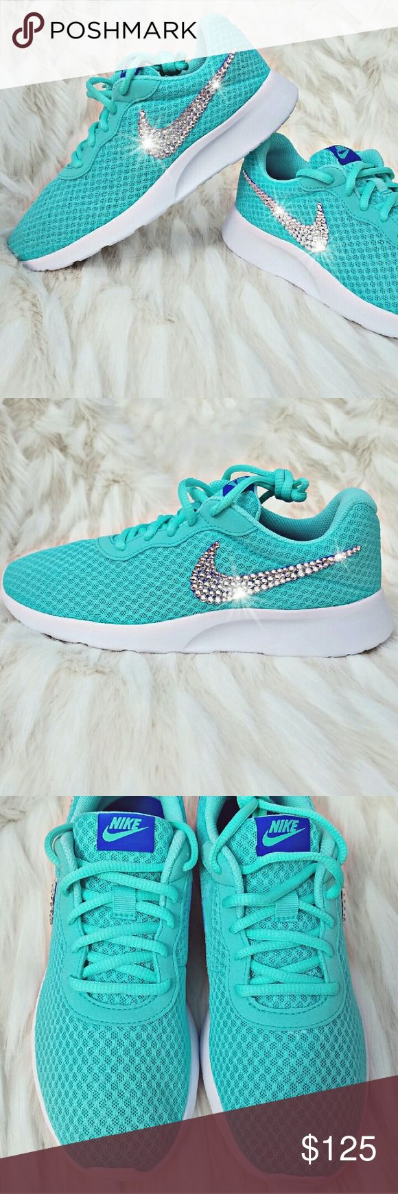 Swarovski Crystal Bling Nike Tanjun - Turquoise Nike Tanjun Color: Hyper Turquoise   Embellished with genuine Swarovski XIRIUS Rose 2088 Crystals  Swarovski's newest most revolutionary crystals, the XIRIUS collection takes one step closer to the diamond with extraordinary brilliance & shine  Crystals are applied by hand with specialty industrial-strength adhesive. Embellishment is permanent. Extra crystals are provided just in case  Shoes come in original Nike box Nike Shoes Athletic Shoes