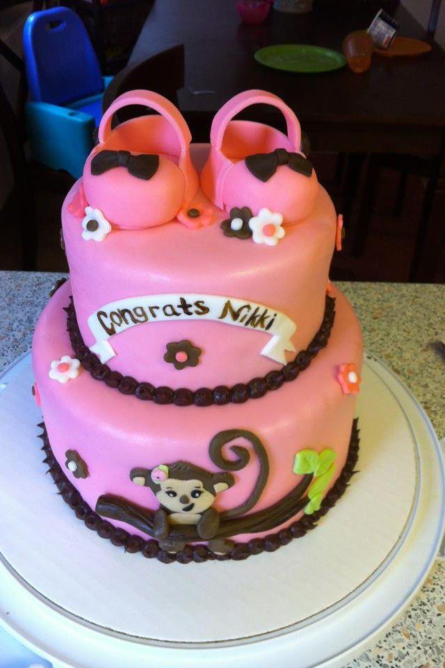 Monkey Baby Shower Cake Fondant Booties