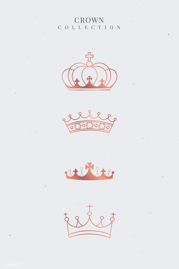 Download Premium Vector Of Rose Gold Crown Collection Vector 892927 Rose Gold Crown Crown Tattoo Design Gold Crown
