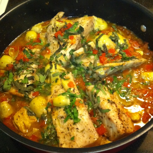Cobia with tomatoes artichokes onions garlic and basil for Cobia fish recipes