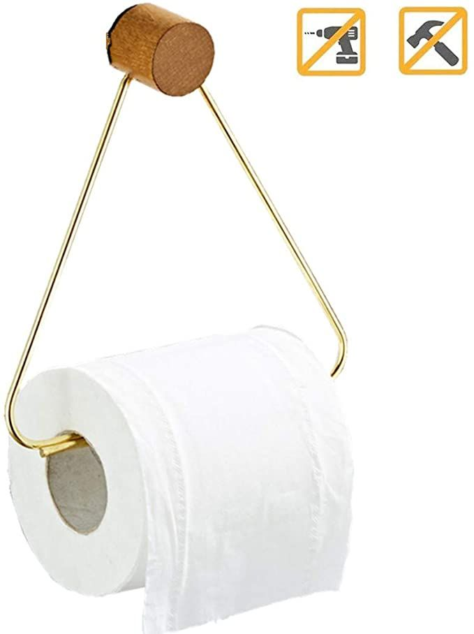 Amazon Com Gecious Gold Brass Toilet Roll Paper Holder Self Adhesive Or Wall Mounted Toilet Paper Holder Wall Mounted Toilet Toilet Paper Holder Toilet Paper