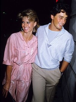 Olivia Newton John and husband Matt Lattanzi during Olivia Newton John and husband Matt Lattanzi arrive at Langan's Brasserie for her 35th Birthday Party at Langan's Brasserie in London, Great Britain.