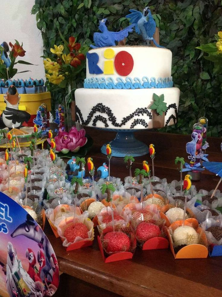 Cool cake at a Rio birthday party! See more party ideas at CatchMyParty.com!