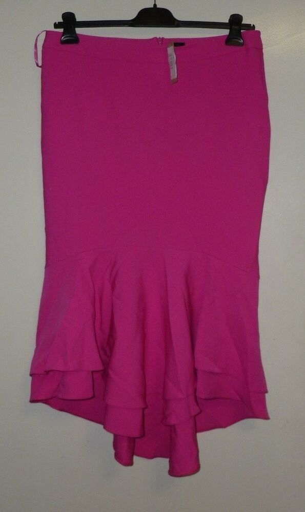 5ba073d5b0 River Island Pink tiered frill fishtail pencil skirt SIZE 16 UK CR180 ii 08  #fashion #clothing #shoes #accessories #womensclothing #skirts (ebay link)
