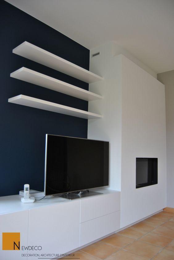 mobilier sur mesure / meuble télé / habillage cheminée / aménagement salon: