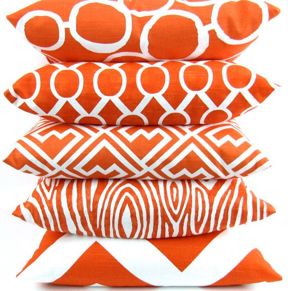 Tangerine Orange Pillow Cover 18x18 inch by DeliciousPillows, $20.00