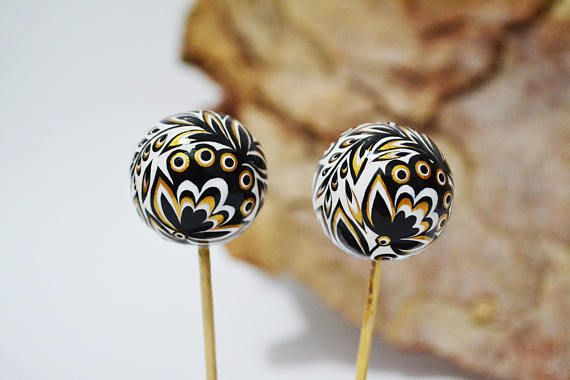 Special order Kristine Reihmane 2 Wooden beads Hand painted