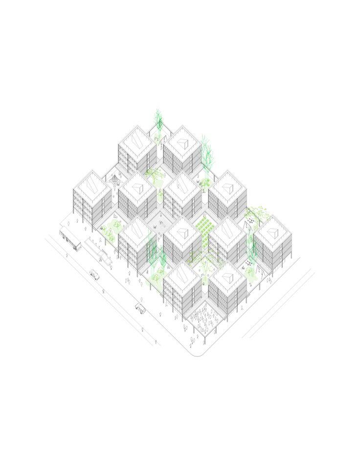 Conoce la propuesta de Guillermo Hevia García, ganador del concurso de vivienda colectiva Hábitat Colectivo,Axonométrica